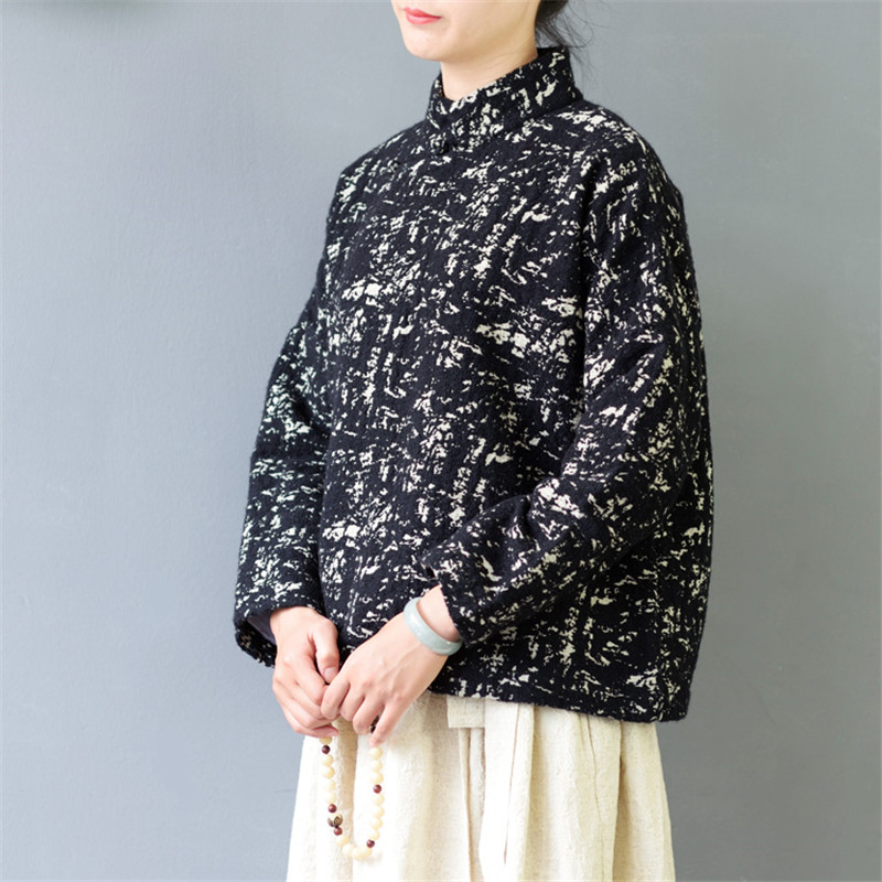 SCUWLINEN 2019 Winter Jacket Women Vintage Stand Collar Chinese Style Thickening Jacquard Short Loose Jackets S430