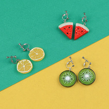 Sansummer New Hot Fashion Summer Refreshing Acrylic Watermelon Orange Kiwi Cute Girl Personality Earrings For Women Jewelry sansummer 2019 new hot fashion maple leaf pendant asymmetric tassel vintage style acrylic elegant earrings for women jewelry