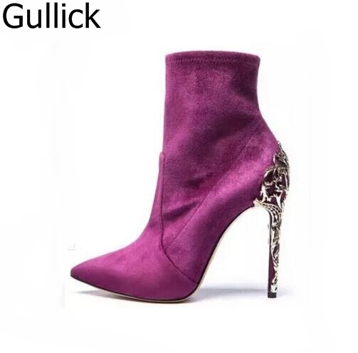 Hot Selling Women Purple Flock Leather Pointed Toe Ankle Boots Sexy Metal Stiletto Heel Slip On Shoes High Heels Free Shipping