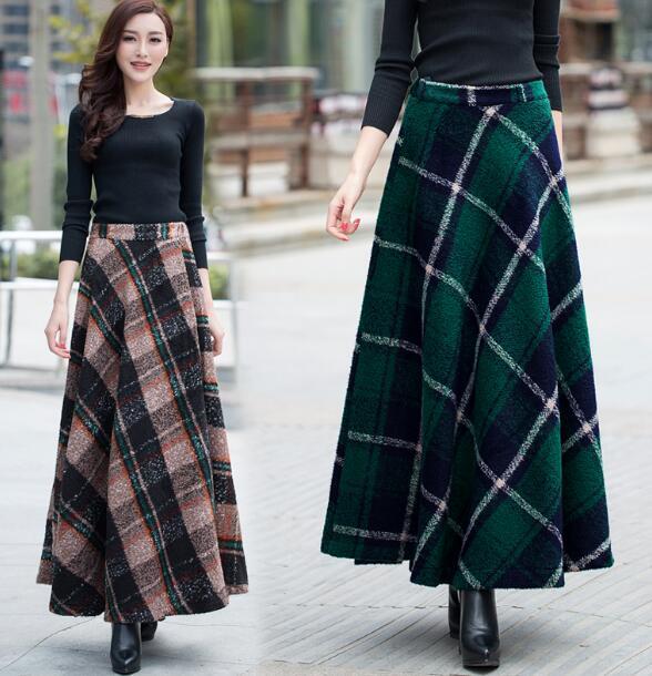 2018 Nouvelle Mode Automne Hiver A ligne Femmes Étage Longueur Jupe De  Laine Angleterre Style Cachemire Jupe dans Jupes de Femmes Vêtements \u0026  Accessoires