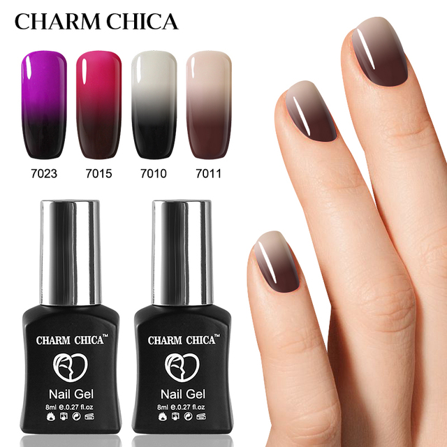 Charm Chica Temperature Changing Color Uv Gel Nail Polish 8ml Soak Off Black Lacquer Varnish