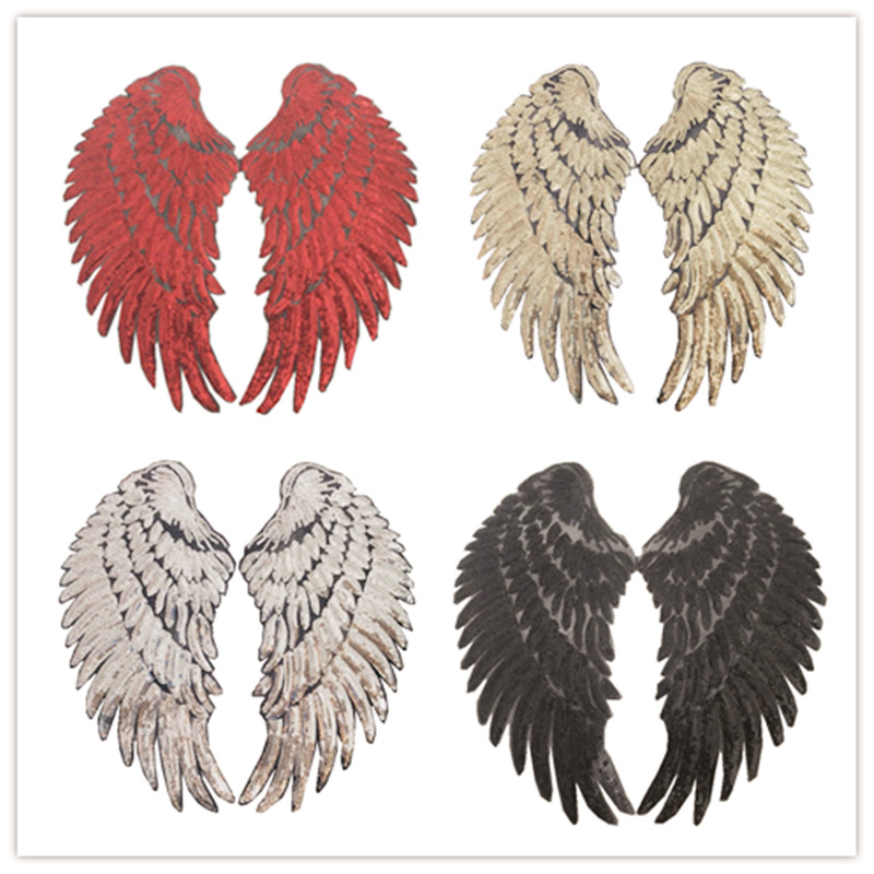 1Pair Bead Sequined Wings Sticker Clothes Patch T-Shirt Accessories DIY Sequins Bead Patch Sticker Affixed Adhesive