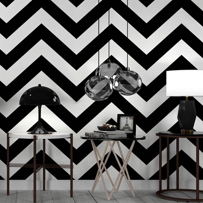 Us 3249 35 Offblack White Strip Wall Papers Home Decor Living Room Geometric Loft Wallpaper Roll For Shop Bar Decoration Mural Papel Pintado In