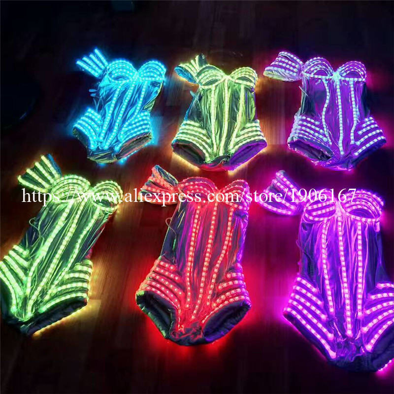 New Performance Prop Women Dance Accessories Girls DJ LED costumes Light Up Costume 02