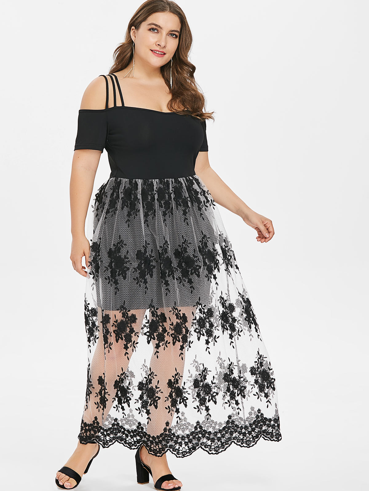 US $15.83 52% OFF|Wipalo Plus Size 5XL Floral Embroidery Scalloped Maxi  Dress Cold Shoulder Ankle Length See Through Spaghetti Strap Vestidos-in ...