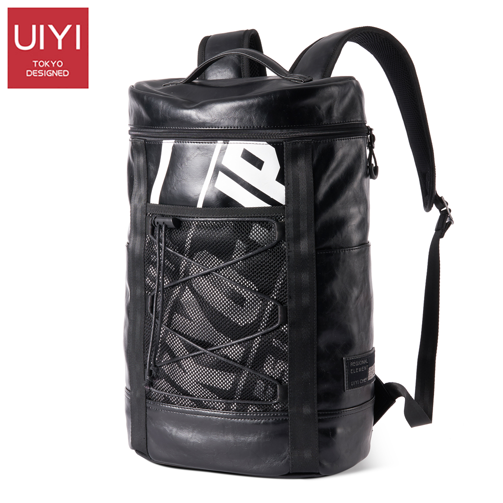 UIYI Men's backpack black PVC laptop shoulder Back bag Casual male package Travel men's packs slightly waterproof bag #UYB7045 uiyi male pvc casual shoulder bag black chest bag for men shoulder