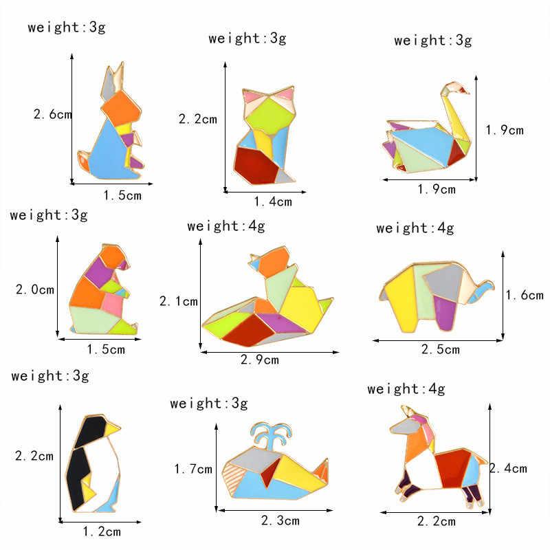 Di modo Origami Crane Coniglio Pinguino Elefante Gatto Oca Balena Cavallo Spille Colorful Splicing Animale Smalto Spilli Distintivi e Simboli Gioielli