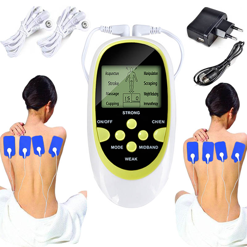 Electric Massager Full body massager Massage Stimulator neck Body Relax Muscle Therapy Massage Pulse tens Acupuncture 2*4 PADS mini electric massager digital pulse therapy muscle full body massager blue