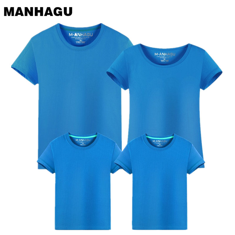 New Fashion mother and daughter father Baby clothes family matching Solid color clothing family look summer child cotton T-shirt