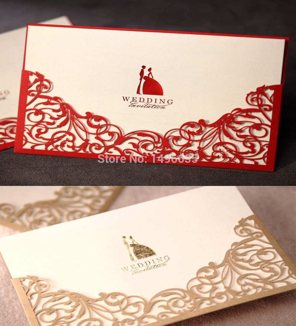 Design Laser Cut Floral Red Gold Wedding invitations Cards Paper ...