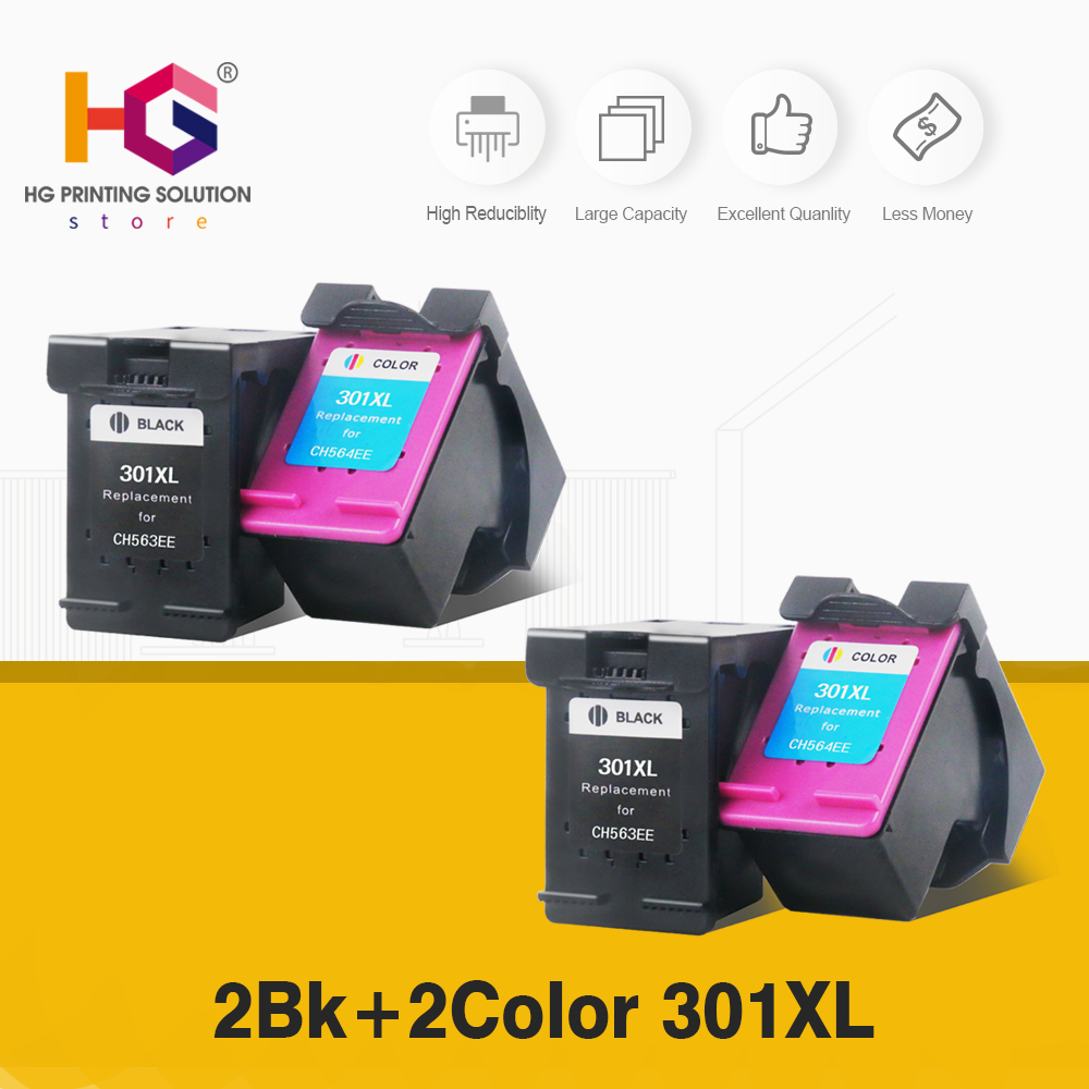 2pk 301XL for HP 3012 sets HP301 XL replacement Ink Cartridge for HP Deskjet 1050 2050 2050s 2510 2540 3050 Envy 4500 4502 4504