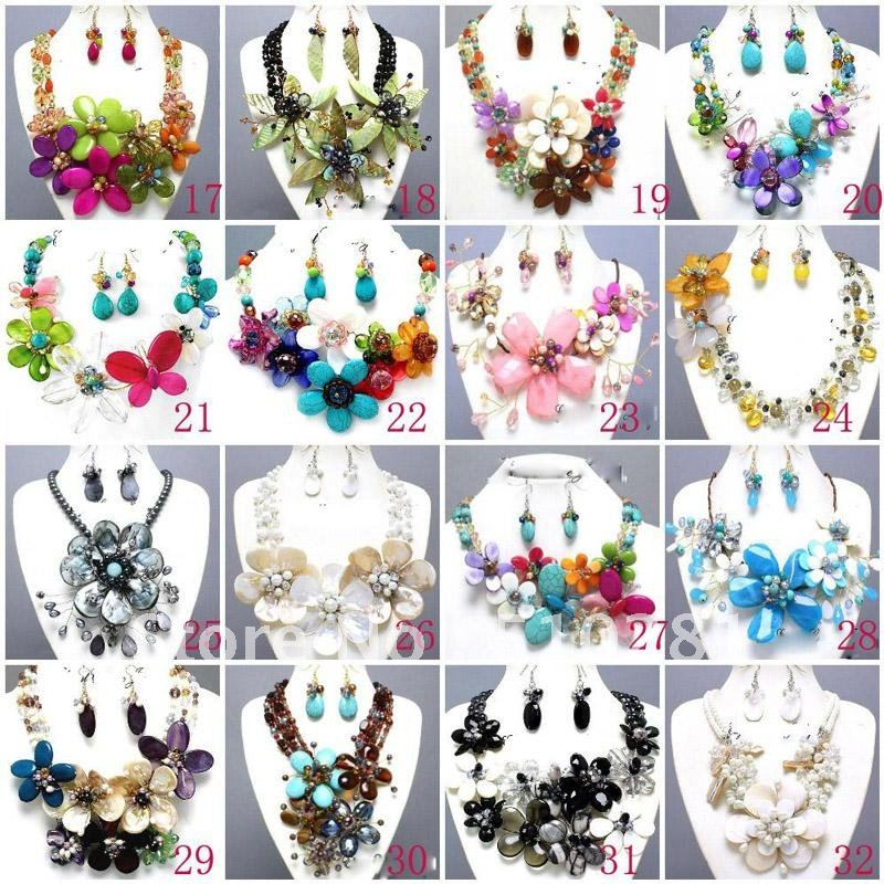 Springtime Folly Shell Semi Precious Chunky Flower Necklace Set Costume Jewelry-in Choker Necklaces from Jewelry u0026 Accessories on Aliexpress.com | Alibaba ...  sc 1 st  AliExpress.com & Springtime Folly Shell Semi Precious Chunky Flower Necklace Set ...