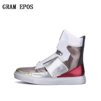 GRAM EPOSNew Men's Sneakers High Top Sequined Cloth Men Flat Shoes Breathable Fashion Men Casual Shoes Zapatos Hombre Mens Flats