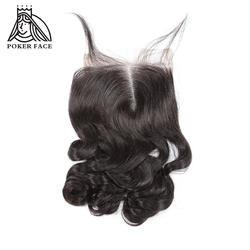 Poker Face Loose Wave бирманские Виргинские волосы с закрытием 8-20 дюймов могут быть окрашены коричневыми кружевами чистого цвета 4x4