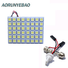 AORUNYEBAO 2pcs 48 LED Panel White Car Reading Map Lamp 5050 smd Auto Dome Interior Bulb Roof Light with T10 Festoon ba9s adpter
