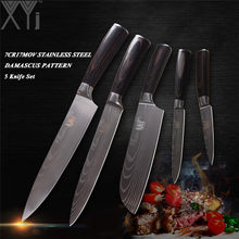 XYj 7Cr17Mov Stainless Steel Kitchen Knives Set 3.5, 5, 7, 8 Inch Japanese Kitchen Knife High Carbon Blade Pakka Wood Handle(China)