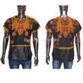 Africa Clothing Men Shirt Full Sleeve T Shirt Dashiki printing O-Neck T-shirt zipper stitching split PU Leather short sleeve