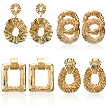 2019 Vintage earrings large for women statement earrings geometric golden color metal pendant earrings trend fashion jewelry 1