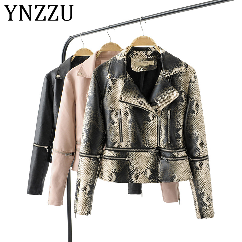YNZZU Sleeve Detachable 2019 New Design Women Faux   Leather   Jacket Coat Women Snake Print Streetwear PU Jacket Female A1022