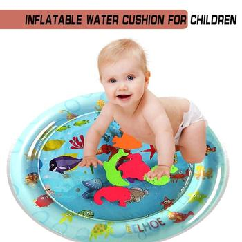 Baby Kids Round Water Playmat Inflatable Thicken PVC Infant Gym Playmat Toys Infant Summer Water Playmat Gyms Mat image