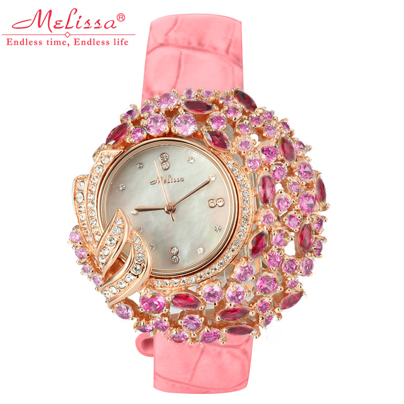 Luxury Mother-of-pearl Melissa Lady Women's Watch Rhinestone Crystal Fashion Hours Leather Bracelet Clock Flower Girl's Gift Box lady of magick