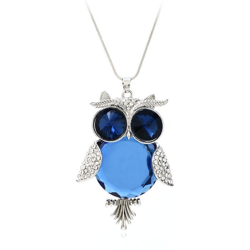 ツ)_/¯YNB más nueva plata azul cristal búho Collares y colgantes 76 ...