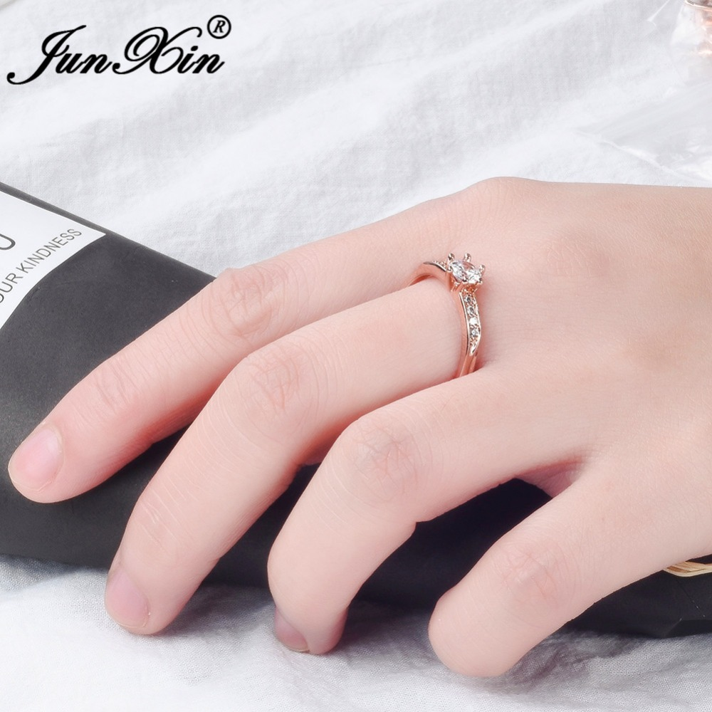 JUNXIN Rose Gold Filled Thin Finger Ring Dainty Cubic Zirconia ...