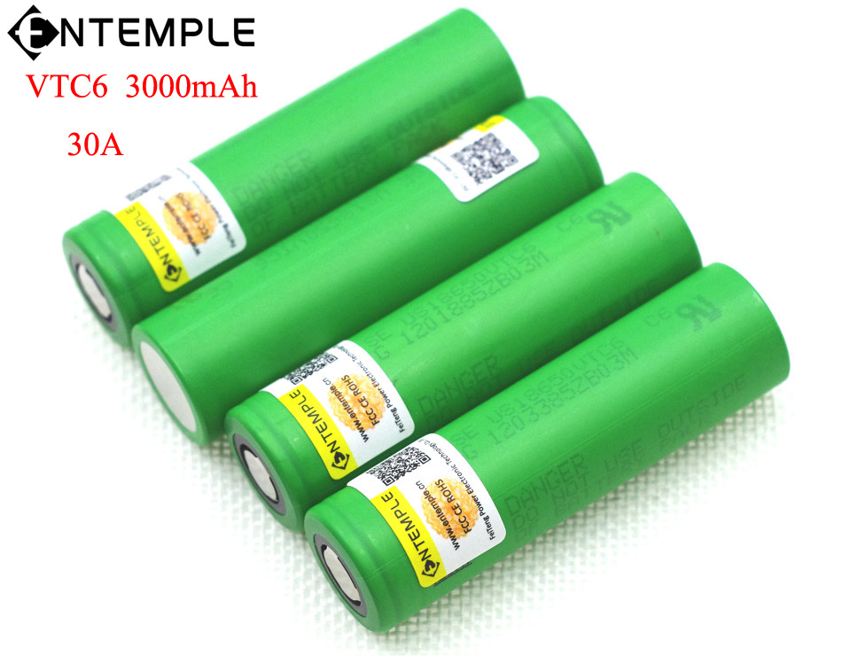 ENTEMPLE VTC6 3.7V 3000 mAh 18650 Li-ion Battery 30A Discharge for Sony US18650VTC6 Toy Flashlight Tools E-cigarette ues