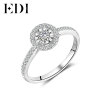 EDI 14K White Gold Diamonds Ring Statement Wedding Bands Engagement Ring For Women Fine Jewelry Christmas