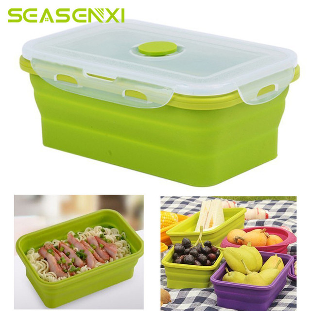 Portable Folding Silicone Box Food Storage Container Kitchen Microwave Tableware Household Outdoor Food Box For Gift  sc 1 st  AliExpress.com & Portable Folding Silicone Box Food Storage Container Kitchen ...