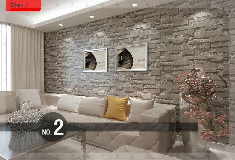 d wallpaper moderno de paredes pvc rollo de papel de la pared de ladrillo papel tapiz de fondo gris para sala de with piedra para revestir paredes - Revestir Paredes