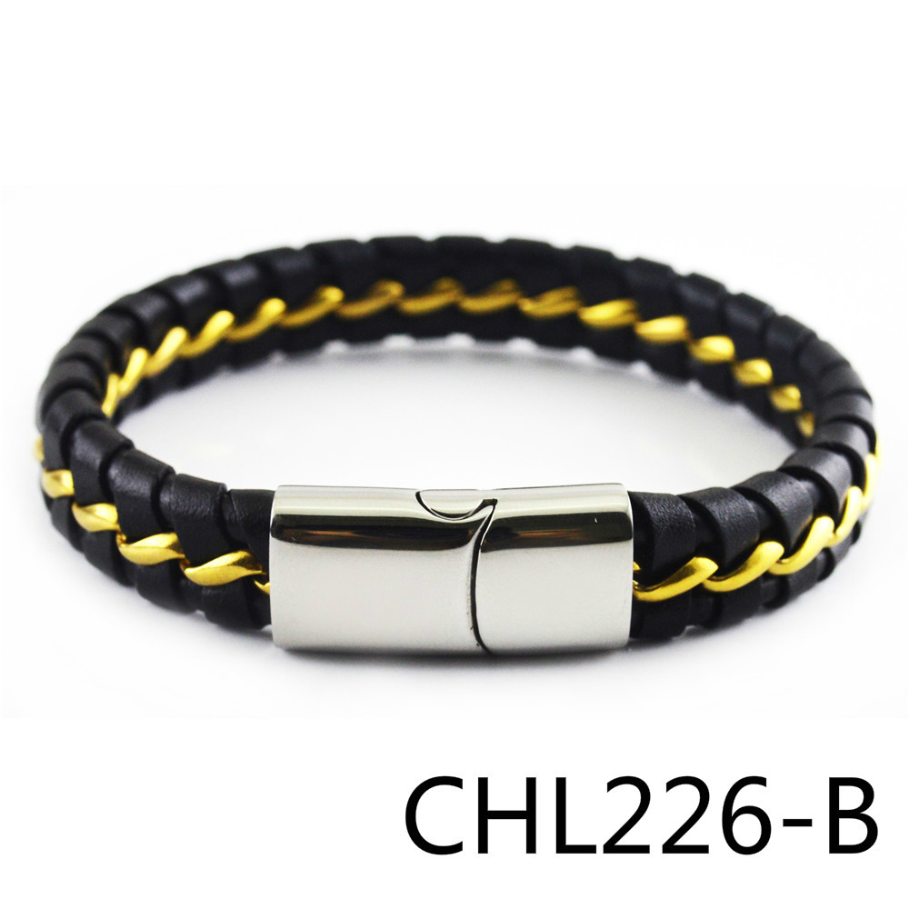 European Foreign Trade Genuine Leather Bracelet Stainless Steel Weave Hand Decorate Head Layer Cowhide Joker Product