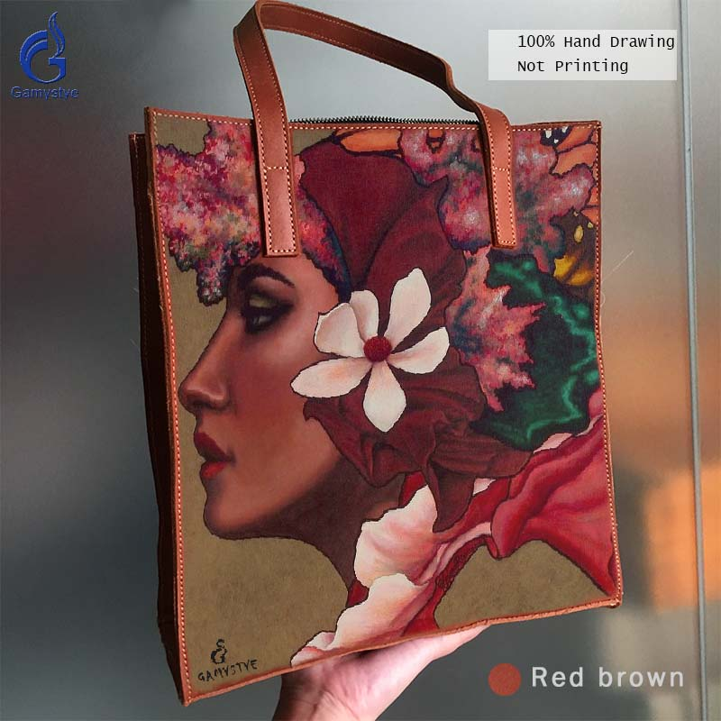 цена на Women Handbag Genuine Leather Full Grain Cowhide Leather Bag Art Hand Drawing Bag Handbags Totes Oil Painted Print Flowers