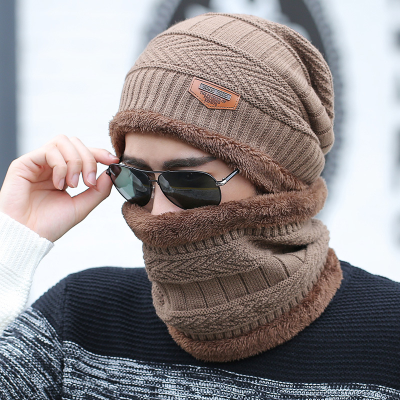 hot selling 2pcs ski cap and scarf cold warm leather winter hat for women men Knitted hat Bonnet Warm Cap Skullies Beanies 1