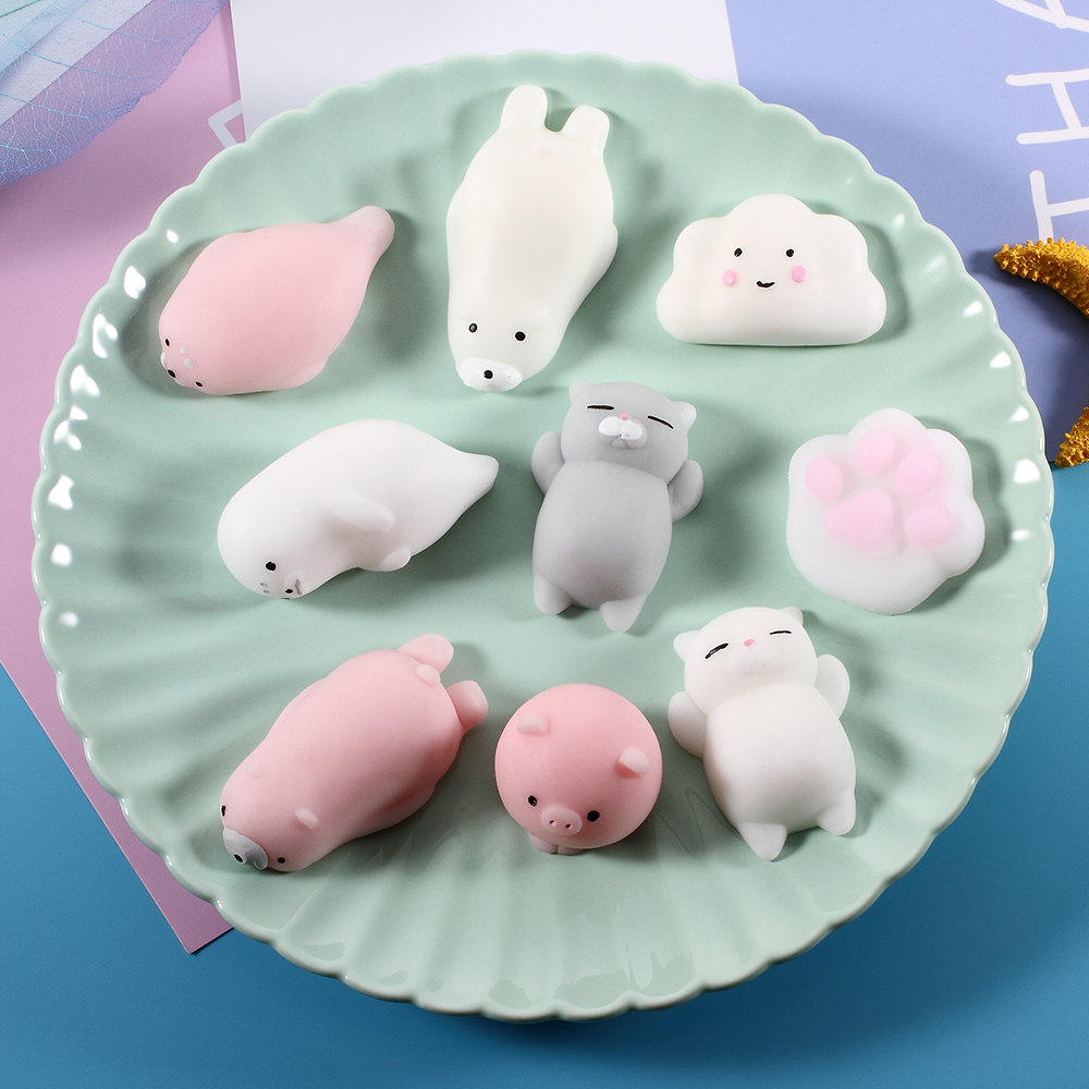 Cute Anti-stress Squishy Toys Lovely Mini Soft Silicone Hand Squeeze Baby Toy Kawaii Squishes Animals Cat Rabbit Bunny Pig Duck anime cartoon duck pink rabbit daisy duck james bear totoro lovely mini pendant with ring bell inside kawai gift