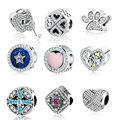 2017 Dos Namorados Miosótis Flor 925 Sterling Silver Sparkling CZ Pave Charme Selo S925 Fit Pandora Charm Bracelets jóias