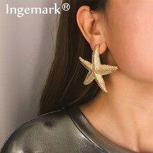 Ingemark, богемные серьги-гвоздики с морской звездой, женские очаровательные богемные пляжные геометрические серьги с тяжелыми металлическими звездами, массивные ювелирные изделия для девочек