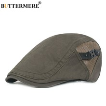 BUTTERMERE Army Green Beret Men Patchwork Cotton Flat Cap Male Summer Adjustable High Quality Metallic Letter Retro Duckbill Hat(China)