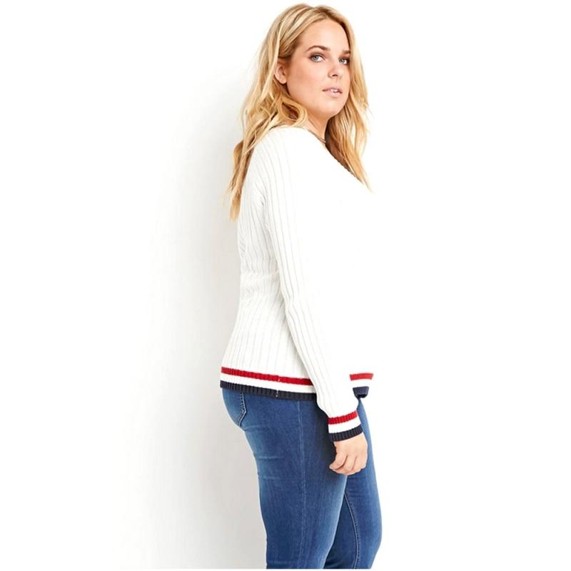 Tricot Mince Base Chandail Simple Longues De Plus Chandails Chunky Contraste Femmes Blanc Taille Pull Nervuré Hem 5xl Manches Jumper 6xl 1PwOPqCUx