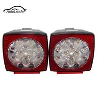 2Pcs LED Stop Light Tail License Plate Lights Truck Trailer Square Brake Side Lamp Mount Light