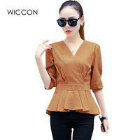 Sexy V Neck Blouses New Fashion Women Shirt Ladies Tops Ruffles Design Waist Long Sleeve Blouse