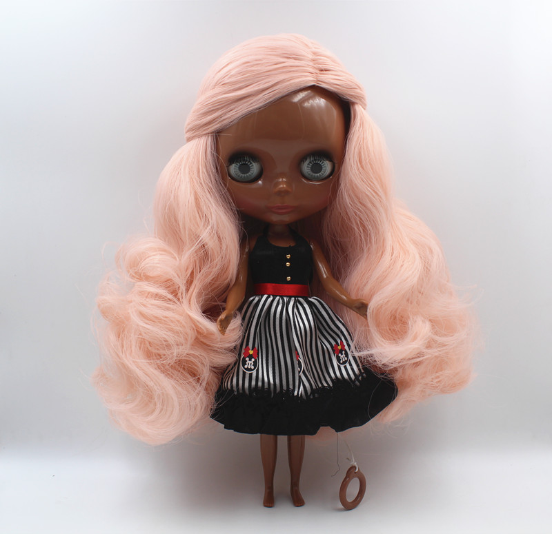 Blyth DollPink slanted liu sea curly hair deep black skin nude doll common body 7 joint body DIY doll can replace scalp new skinBlyth DollPink slanted liu sea curly hair deep black skin nude doll common body 7 joint body DIY doll can replace scalp new skin