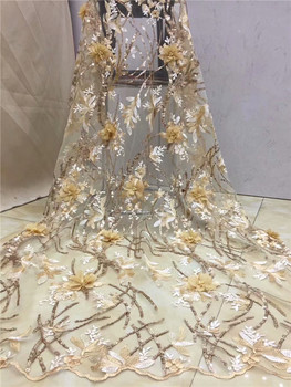 African Sequins Lace Fabric 2019 Embroidered Nigerian 3D Net Laces Fabric Bridal High Quality French Tulle Lace Fabric Yellow