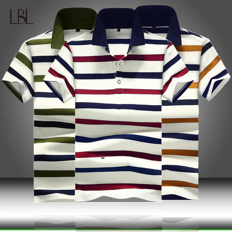 Striped Polo Shirt Men Summer Casual Cotton Turn-down Collar Mens Polos Breathable Business Tops polo Hombre Slim Fit Clothing