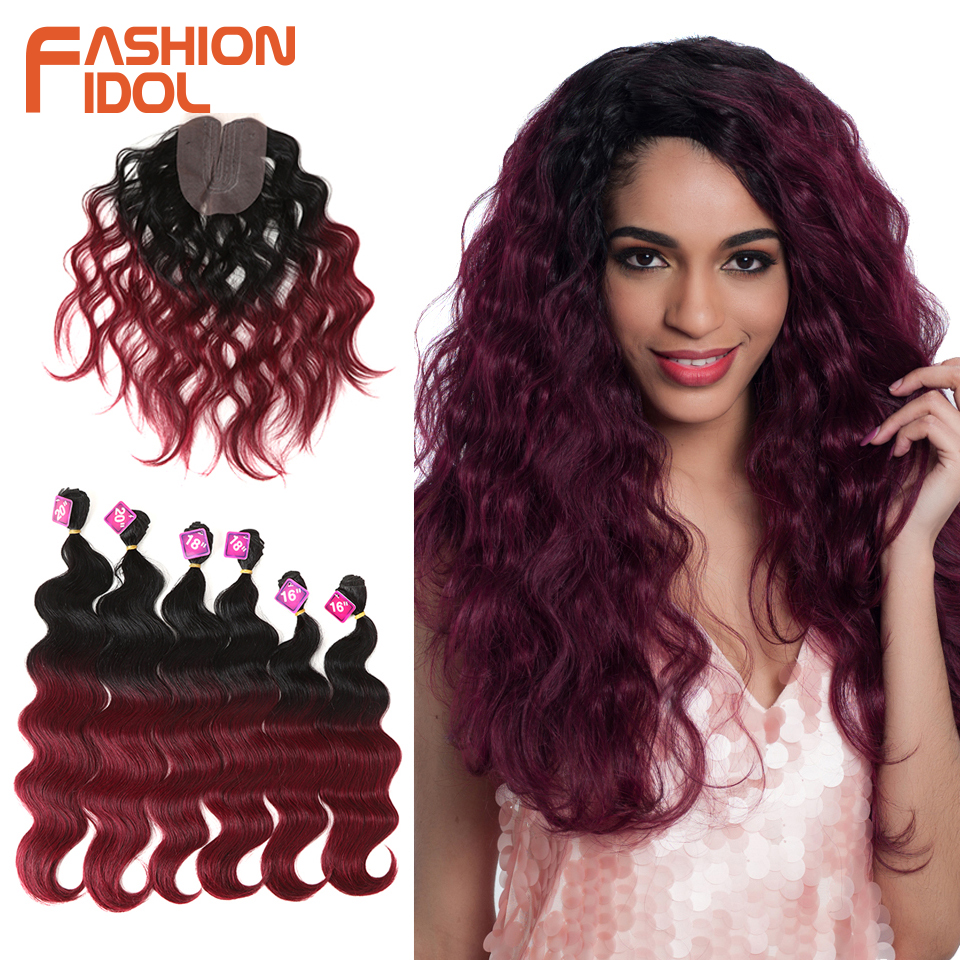 FASHION IDOL Body Wave Curl Hair 16-20 Inch 7Pieces/lot 240g Synthetic Hair Bundles With Closure Middle Part Lace Front Closure