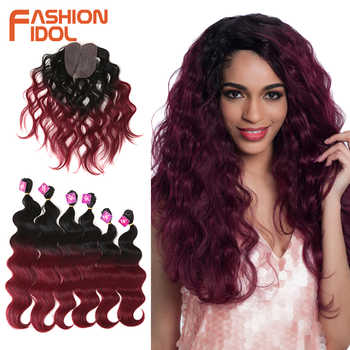 FASHION IDOL Body Wave Curl Hair 16-20 inch 7Pieces/lot 240g Synthetic Hair Bundles With Closure Middle Part Lace Front Closure - DISCOUNT ITEM  40 OFF Hair Extensions & Wigs