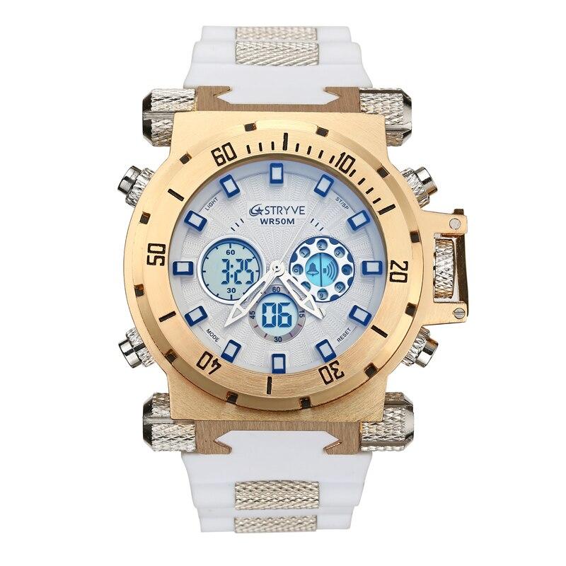 luxury STRYVE brand Men military sports watches Dual Time Quartz Digital analog Watch rubber band wrist watch relogio masculino 2