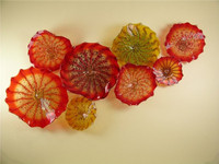 High Quality Colored Hand Blown Glass Hotel Decor Wall Plates