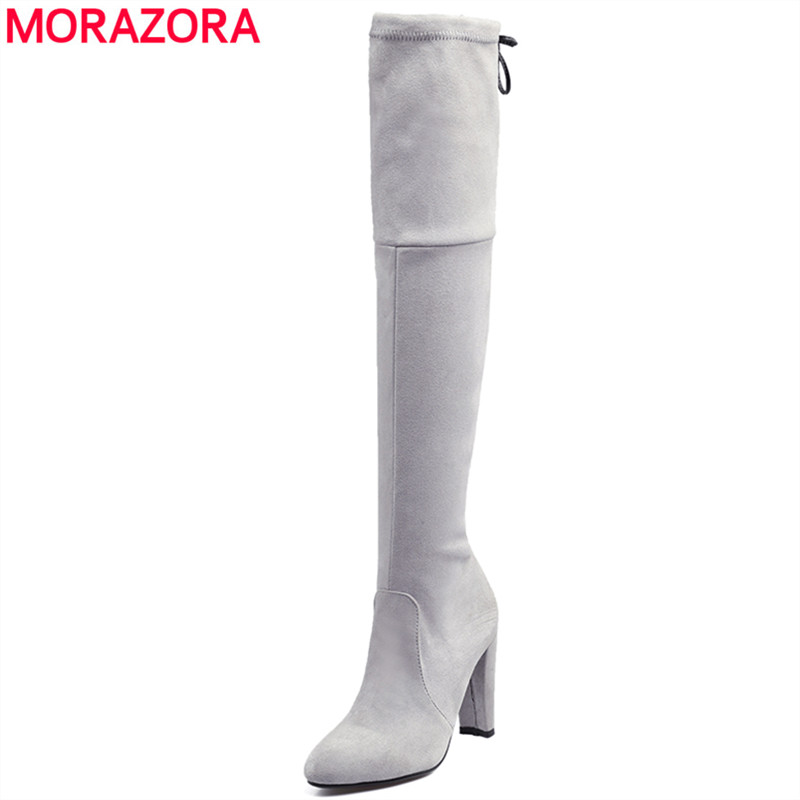 MORAZORA Plus size 34-44 New 2018 Women boots high heels Faux Suede over the knee boots pointed toe thigh high winter snow boots