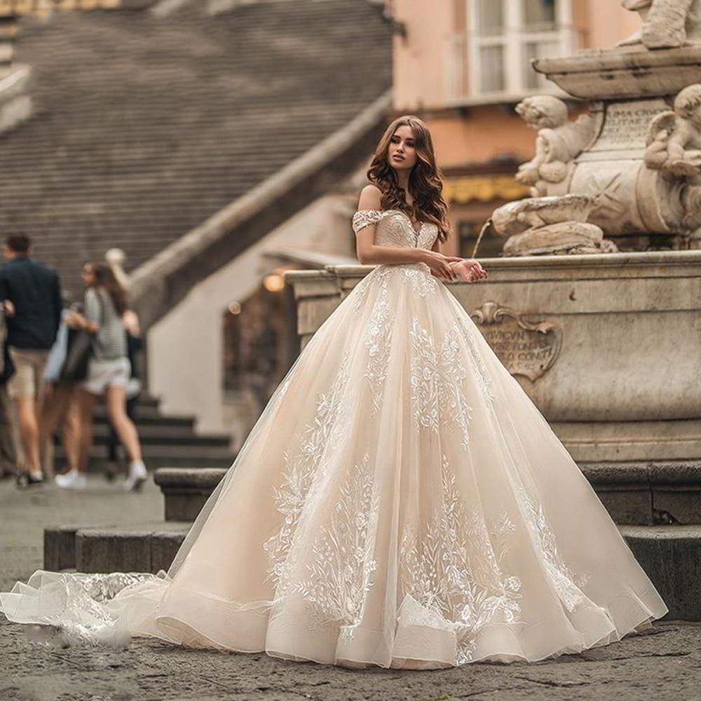 Champagne chérie hors De l'épaule une ligne robes De mariée en dentelle 2019 Vestido De Novia robe De mariée Royal Train robe De mariée